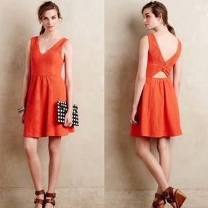 Anthropologie Maeve Double V Textured Dress Orange